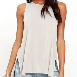 Lush Give it All You've Got Light Grey Tank Top M